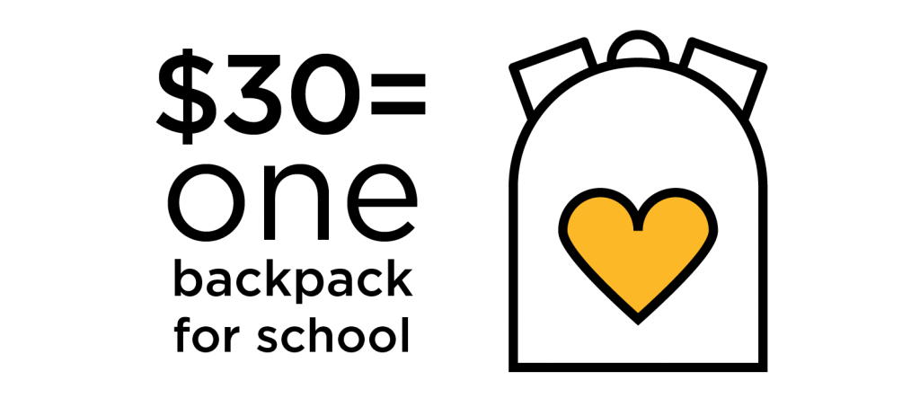 $30 can provide one backpack for school